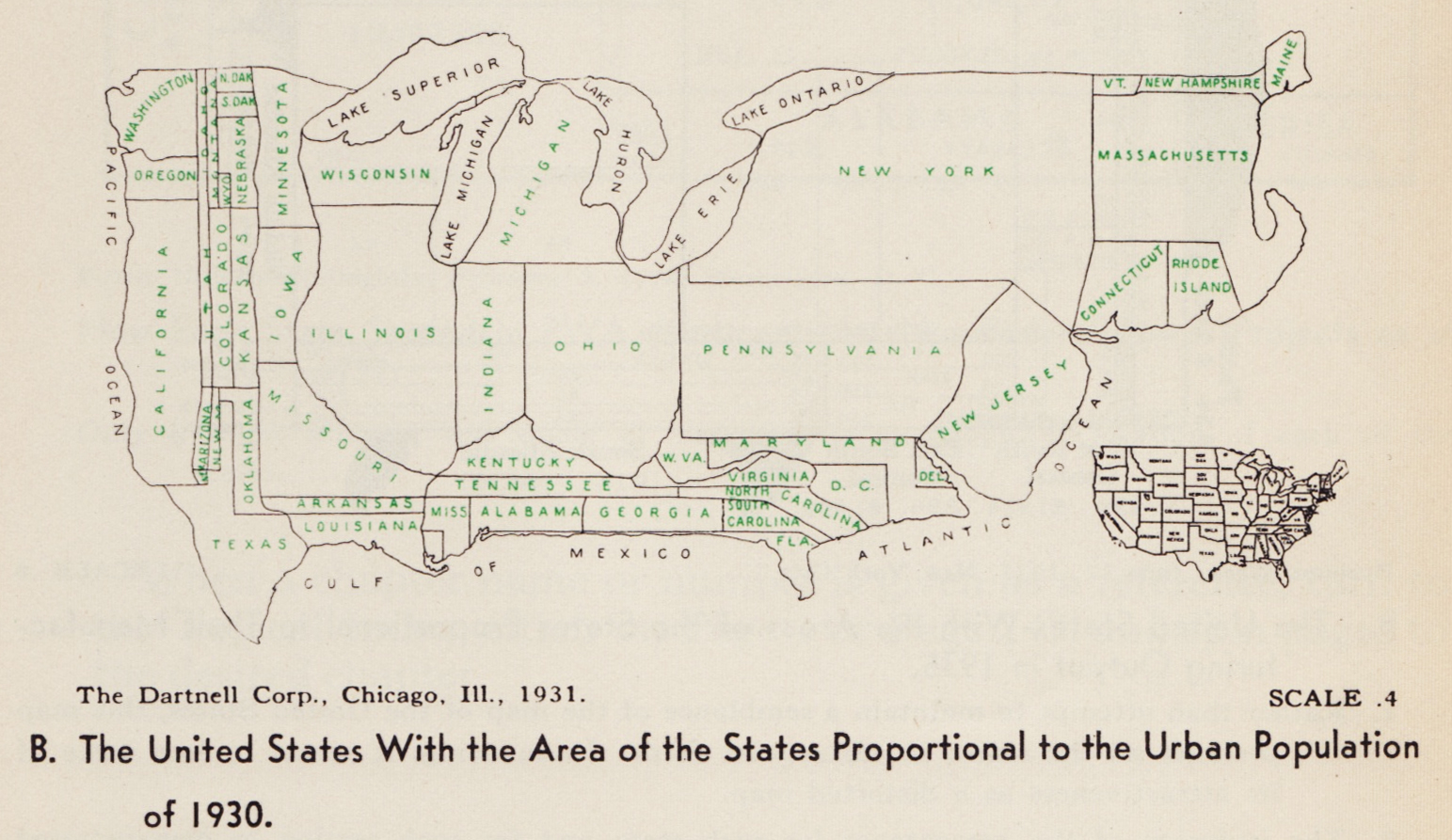 cartogram 1931 the united states with the area of the states proportional to the urban population