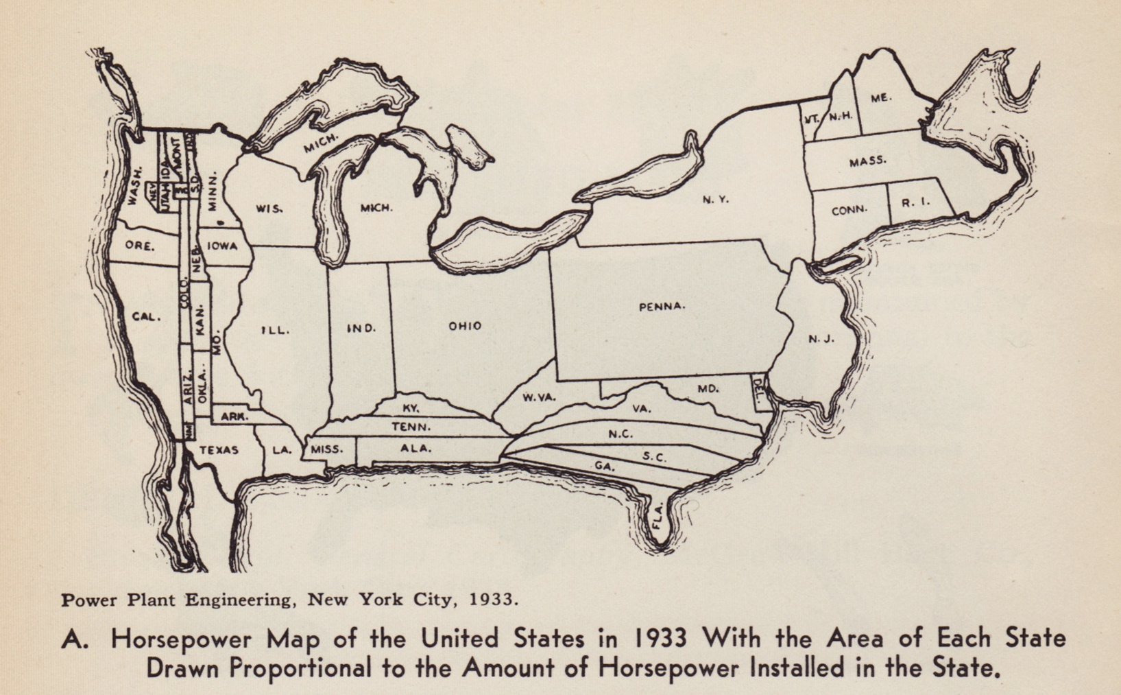cartogram 1933 horsepower map of the united states