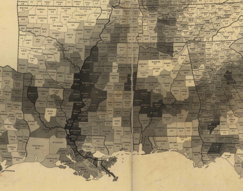 Map Showing the Distribution of the Slave Population of the Southern States (1861)