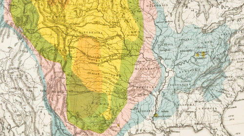 Map of Bison Distribution Over Time (1876)
